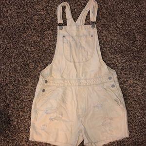 Bleach wash American eagle overalls